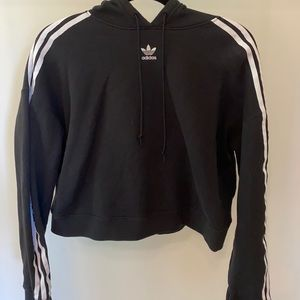 Adidas classic cropped long sleeve black hoodie